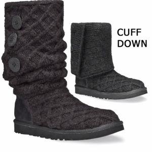 UGG Classic Cardy Lattice Knit Cuffed Boots Sz 7